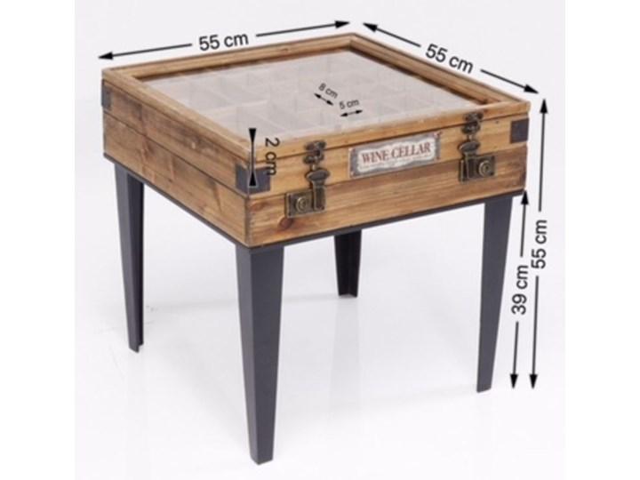 Stolik kawowy Collector 55x55 cm drewniany Szkło Styl Industrialny Płyta meblowa Drewno Stal Styl Vintage