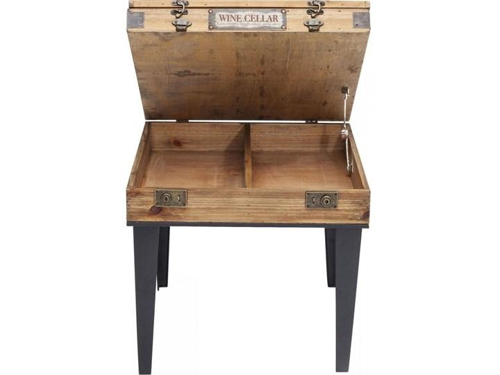 Stolik kawowy Collector 55x55 cm drewniany Stal Drewno Płyta meblowa Szkło Kolor Beżowy