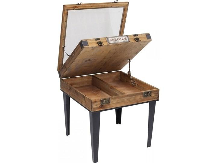 Stolik kawowy Collector 55x55 cm drewniany Stal Płyta meblowa Szkło Drewno Kolor Beżowy