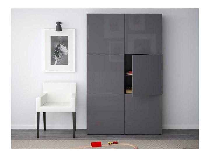 IKEA BESTÅ Kombinacja z drzwiami, Czarnybrąz/Selsviken połysk/szary, 120x40x192 cm Płyta laminowana Rodzaj drzwi Uchylne Lustro