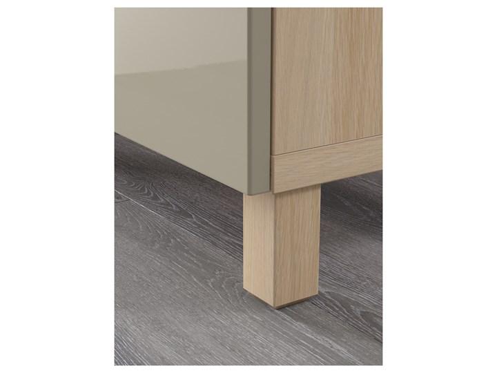 IKEA BESTÅ Kombinacja z drzwiami, Dąb bejcowany na biało/Selsviken/Stubbarp wysoki połysk beż, 180x42x74 cm Płyta MDF Z szafkami Głębokość 42 cm Wysokość 42 cm Drewno Szerokość 180 cm Kolor Biały