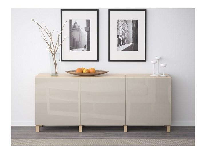IKEA BESTÅ Kombinacja z drzwiami, Dąb bejcowany na biało/Selsviken/Stubbarp wysoki połysk beż, 180x42x74 cm Wysokość 42 cm Płyta MDF Drewno Głębokość 42 cm Z szafkami Szerokość 180 cm Pomieszczenie Sypialnia