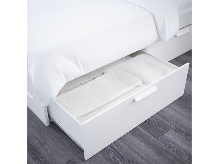 IKEA BRIMNES Rama łóżka z pojemnikiem, zagłówek, biały/Leirsund, 140x200 cm Łóżko drewniane Kategoria Łóżka do sypialni