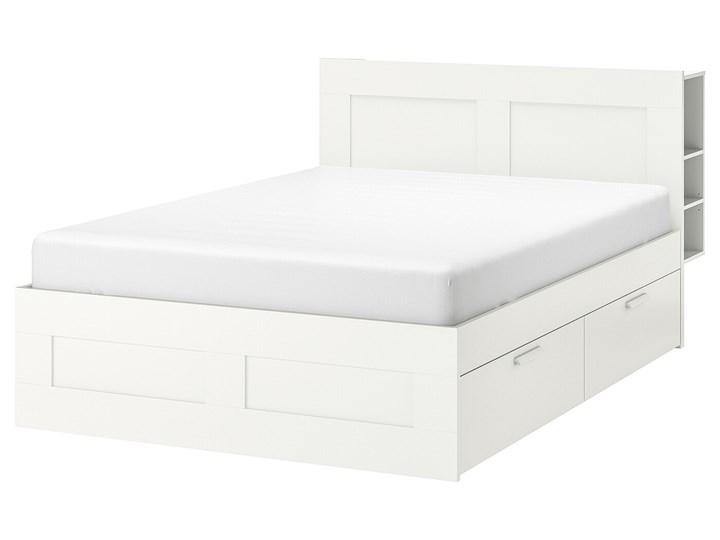 BRIMNES Rama łóżka z pojemnikiem, zagłówek Łóżko drewniane Kolor Biały Kategoria Łóżka do sypialni