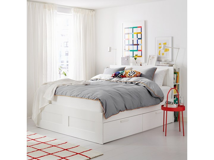 BRIMNES Rama łóżka z pojemnikiem, zagłówek Kolor Biały Łóżko drewniane Kategoria Łóżka do sypialni