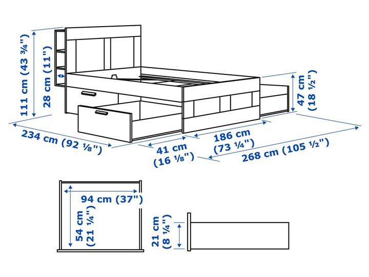 BRIMNES Rama łóżka z pojemnikiem, zagłówek Łóżko drewniane Kolor Biały