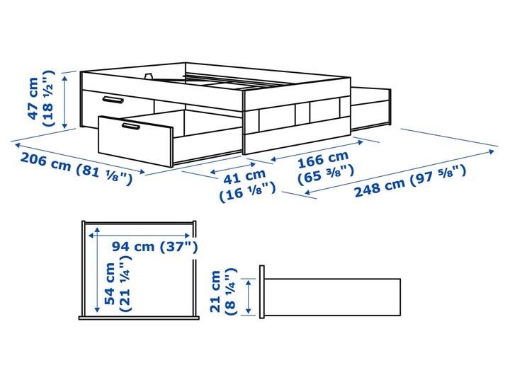 IKEA BRIMNES Rama łóżka z szufladami, biały/Lönset, 160x200 cm Tkanina Kolor Szary Łóżko drewniane Kategoria Łóżka do sypialni