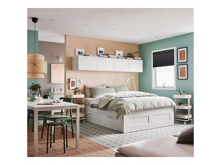 IKEA BRIMNES Rama łóżka z szufladami, biały/Lönset, 160x200 cm Łóżko drewniane Tkanina Kolor Szary