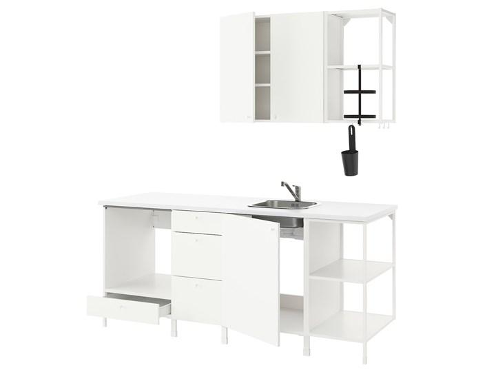 IKEA ENHET Kuchnia, biały, 203x63.5x222 cm Zestawy gotowe Kategoria Zestawy mebli kuchennych