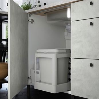 IKEA ENHET Kuchnia narożna, antracyt/imitacja betonu biały, Wysokość szafka wisząca: 150 cm