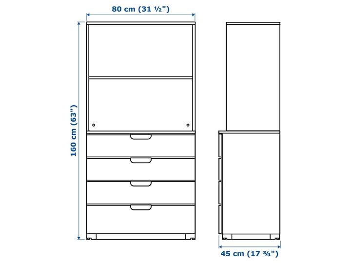 IKEA GALANT Kombinacja z szufladami, Okleina dębowa bejcowana na biało, 80x160 cm Kategoria Zestawy mebli do sypialni Kolor Beżowy