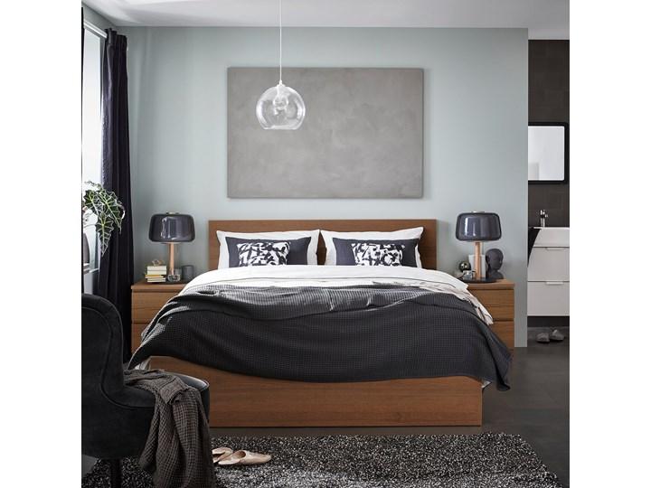 IKEA MALM Rama łóżka, wysoka, Brązowa bejca okleina jesionowa, 160x200 cm Drewno Łóżko drewniane Kolor Brązowy