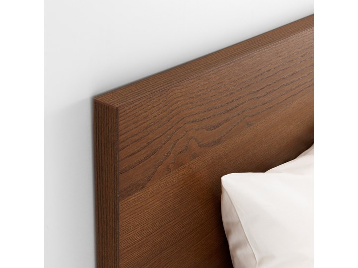 IKEA MALM Rama łóżka, wysoka, Brązowa bejca okleina jesionowa, 160x200 cm Kategoria Łóżka do sypialni Drewno Łóżko drewniane Kolor Szary