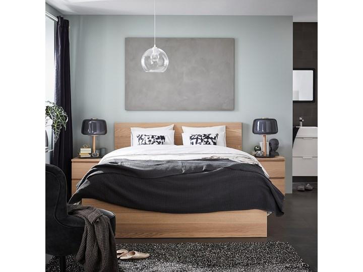 IKEA MALM Rama łóżka, wysoka, Okleina dębowa bejcowana na biało, 140x200 cm Drewno Łóżko drewniane Kolor Biały