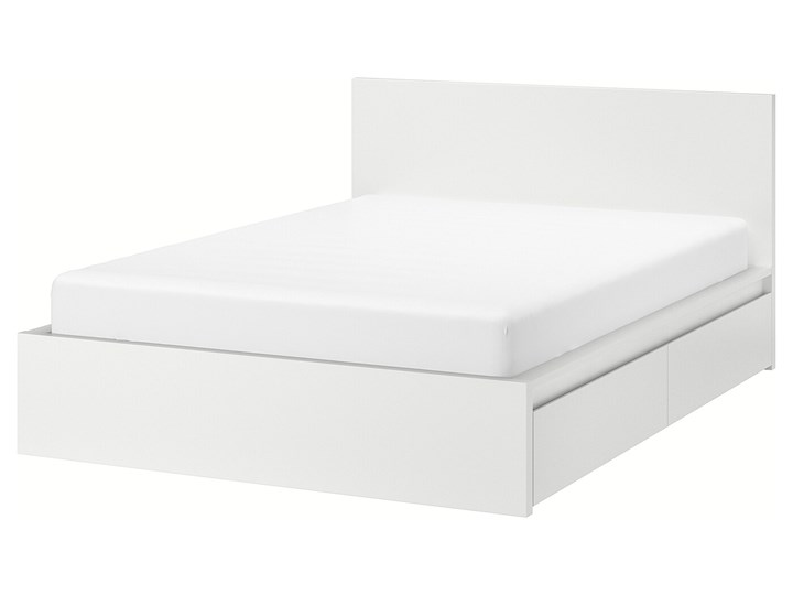 MALM Rama łóżka z 2 pojemnikami Łóżko drewniane Kolor Biały Kategoria Łóżka do sypialni