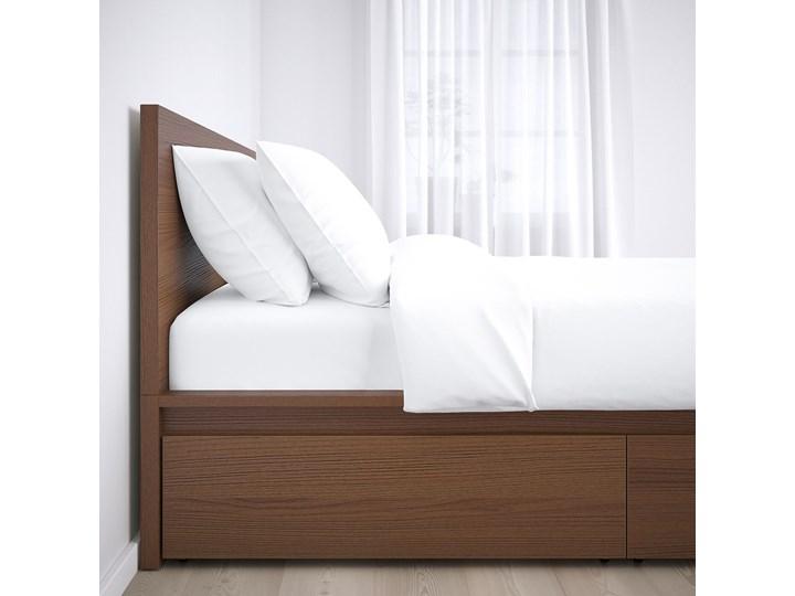 IKEA MALM Rama łóżka z 2 pojemnikami, Brązowa bejca okleina jesionowa, 160x200 cm Kategoria Łóżka do sypialni Drewno Łóżko drewniane Kolor Szary