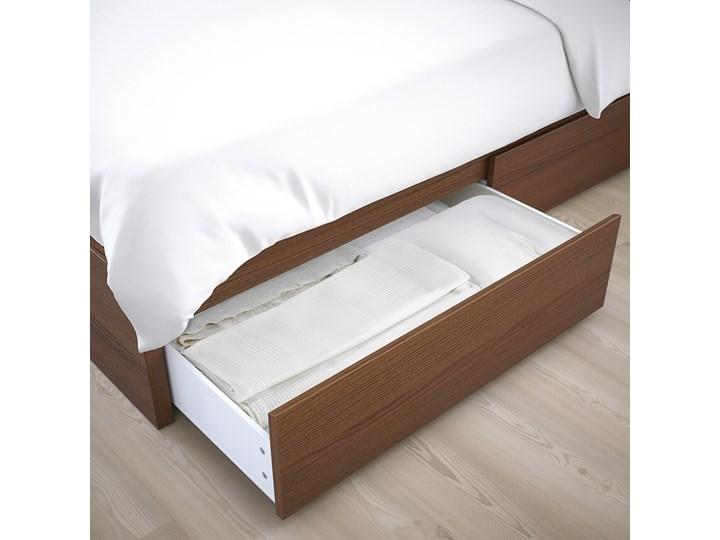 IKEA MALM Rama łóżka z 2 pojemnikami, Brązowa bejca okleina jesionowa, 160x200 cm Drewno Łóżko drewniane Kolor Brązowy