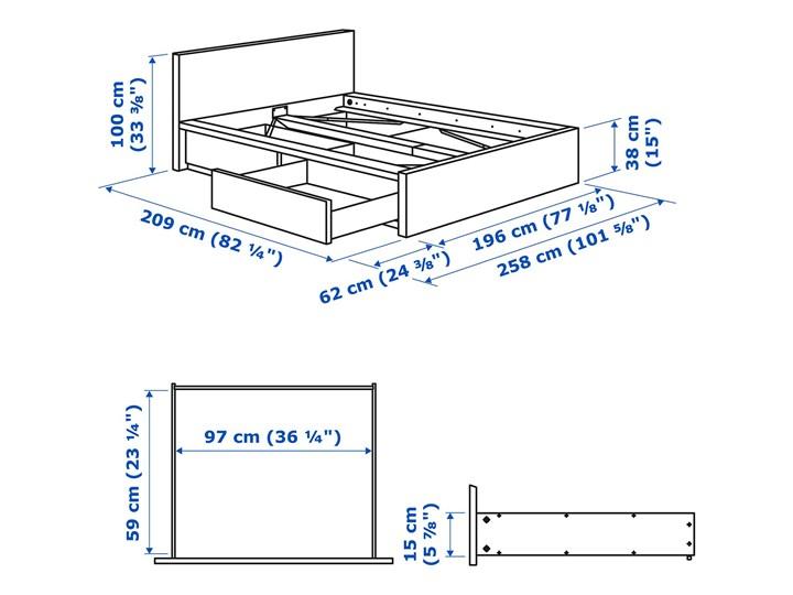 IKEA MALM Rama łóżka z 2 pojemnikami, Okleina dębowa bejcowana na biało, 180x200 cm Łóżko drewniane Drewno Kategoria Łóżka do sypialni
