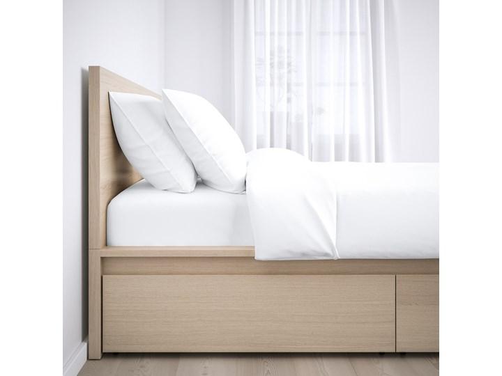 IKEA MALM Rama łóżka z 2 pojemnikami, Okleina dębowa bejcowana na biało, 160x200 cm Drewno Łóżko drewniane Kolor Beżowy Kategoria Łóżka do sypialni