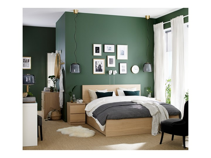 IKEA MALM Rama łóżka z 2 pojemnikami, Okleina dębowa bejcowana na biało, 180x200 cm Drewno Kategoria Łóżka do sypialni Łóżko drewniane Kolor Biały