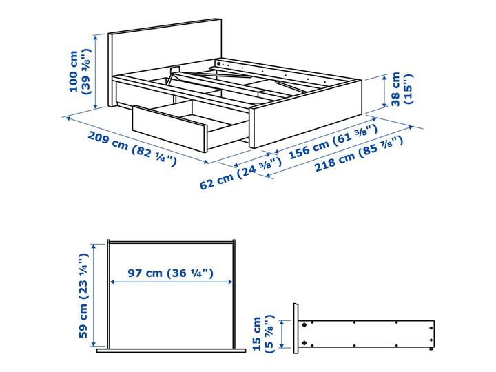 IKEA MALM Rama łóżka z 2 pojemnikami, Okleina dębowa bejcowana na biało, 140x200 cm Łóżko drewniane Drewno Kolor Biały