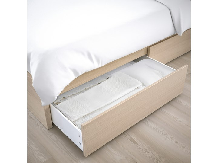 IKEA MALM Rama łóżka z 2 pojemnikami, Okleina dębowa bejcowana na biało, 140x200 cm Drewno Łóżko drewniane Kolor Beżowy