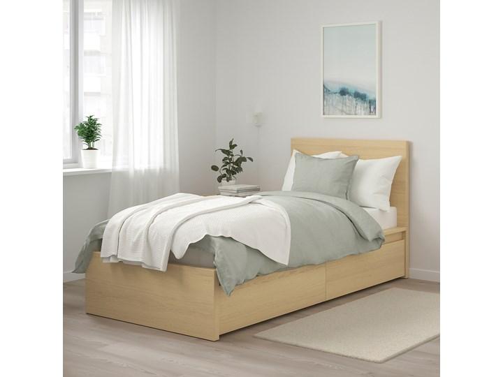 IKEA MALM Rama łóżka z 2 pojemnikami, Okleina dębowa bejcowana na biało, 90x200 cm Łóżko drewniane Drewno Kolor Beżowy