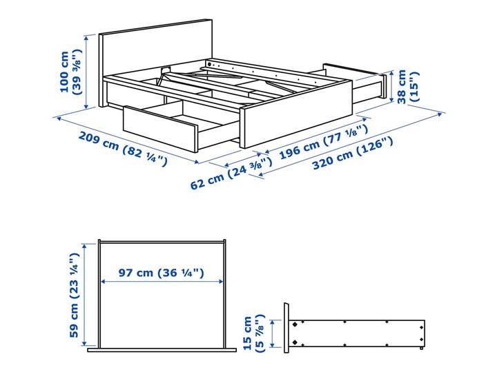 IKEA MALM Rama łóżka z 4 pojemnikami, Brązowa bejca okleina jesionowa, 180x200 cm Drewno Łóżko drewniane Kategoria Łóżka do sypialni
