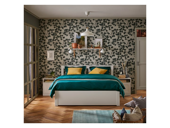 IKEA SONGESAND Rama łóżka z 4 pojemnikami, biały, 140x200 cm Łóżko drewniane Styl Klasyczny