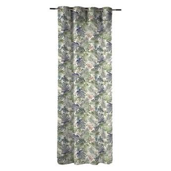 Zasłona bawełniana w liście Anea zielona 140 x 270 cm na przelotkach Inspire