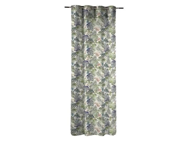Zasłona bawełniana w liście ANEA zielona 140 x 270 cm na przelotkach INSPIRE Mocowanie Kółka 140x270 cm Len Bawełna Mocowanie Taśma