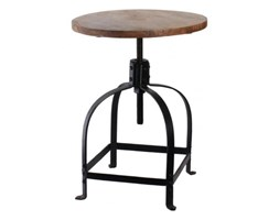 Metalowy stołek z drewnianym siedziskiem od HK Living