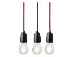 Lampa NUD Classic - czarne zawieszenie z czerwonym kablem w oplocie