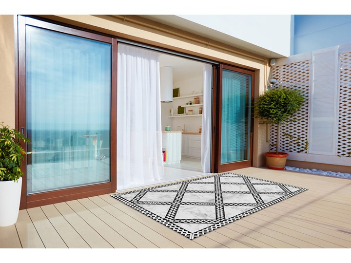 Nowoczesny dywan na balkon wzór Marmur wzorek 80x120 cm 60x90 cm Kolor Czarny Dywany Prostokątny Winyl Pomieszczenie Kuchnia