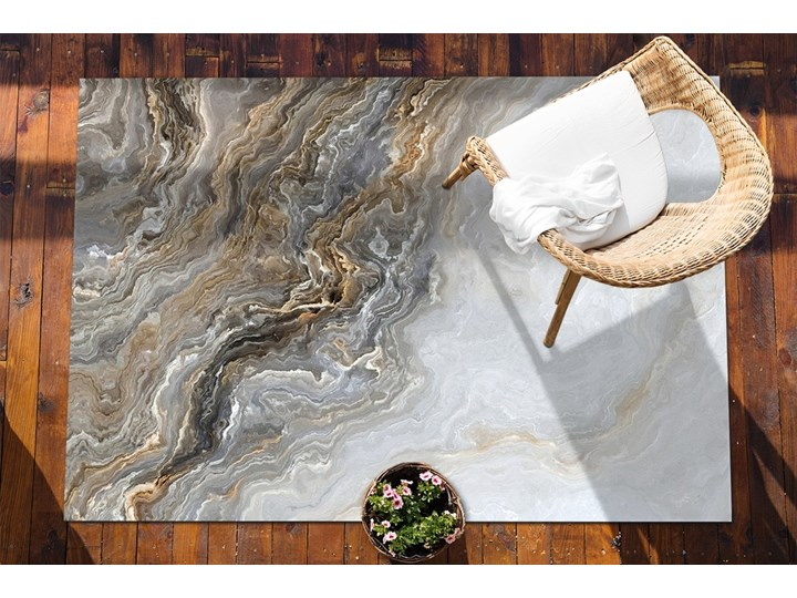 Dywan na taras do ogrodu na balkon Perłowy marmur Prostokątny Winyl 80x120 cm Dywany 60x90 cm Kolor Brązowy