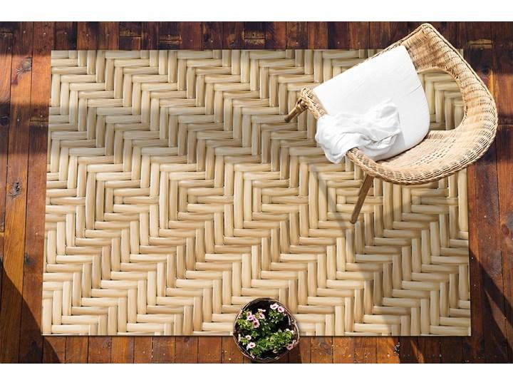 Tarasowy dywan zewnętrzny Wiklinowa tekstura 60x90 cm Kolor Beżowy Prostokątny Winyl Dywany 80x120 cm Pomieszczenie Balkon i taras