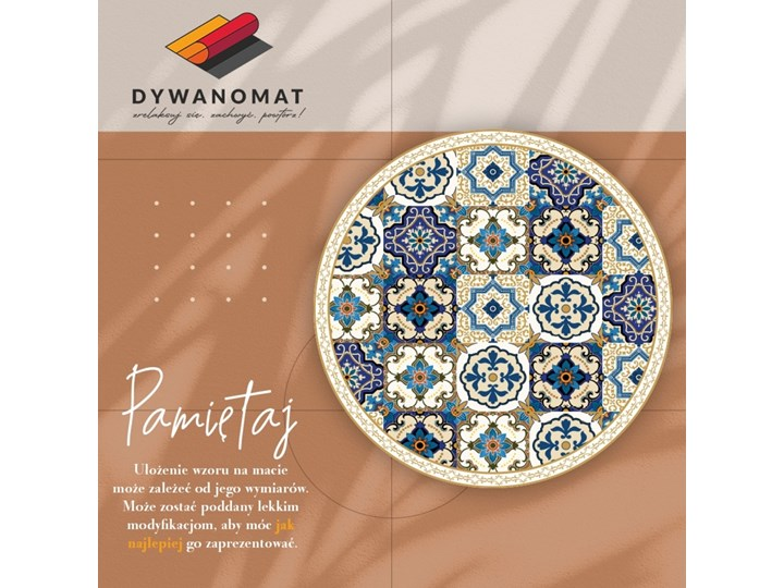 Mata winylowa do domu portugalskie kafelki 60x60 cm Okrągły Kategoria Dywany Dywany Kolor Beżowy