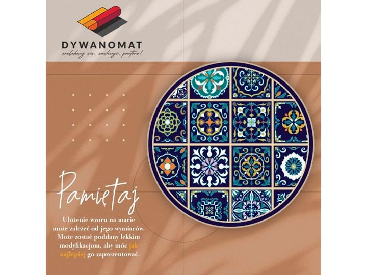 Modny dywan winylowy portugalskie kafelki Okrągły Syntetyk Dywany 60x60 cm Kolor Granatowy