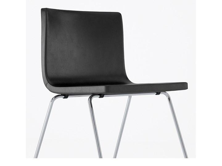 BERNHARD Krzesło Skóra Kategoria Krzesła kuchenne Wysokość 77 cm Szerokość 45 cm Głębokość 50 cm Szerokość 50 cm Głębokość 40 cm Wysokość 48 cm Kolor Czarny
