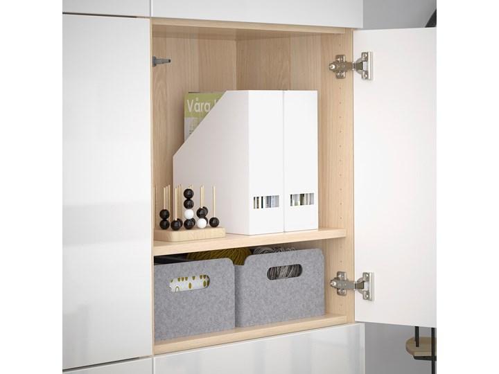 IKEA BESTÅ Kombinacja z drzwiami, Dąb bejcowany na biało/Selsviken połysk/biel, 120x42x193 cm Płyta meblowa Drewno Płyta laminowana Płyta MDF Kolor Biały