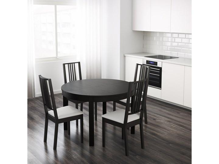 IKEA BJURSTA Stół rozkładany, Brązowoczarny, 115/166 cm Płyta MDF Rozkładanie Rozkładane Długość 115 cm Szerokość 115 cm Kształt blatu Okrągły