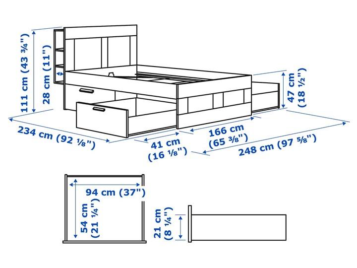 BRIMNES Rama łóżka z pojemnikiem, zagłówek Łóżko drewniane Kategoria Łóżka do sypialni