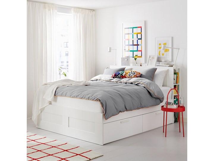 IKEA BRIMNES Rama łóżka z pojemnikiem, zagłówek, biały, 140x200 cm Łóżko drewniane Kategoria Łóżka do sypialni