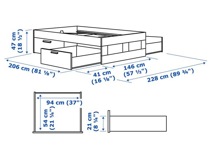 IKEA BRIMNES Rama łóżka z szufladami, biały, 140x200 cm Łóżko drewniane Kategoria Łóżka do sypialni Tkanina Pojemnik na pościel Z pojemnikiem