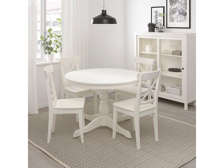 IKEA INGATORP Stół rozkładany, Biały, 110/155 cm Kształt blatu Okrągły Płyta MDF Styl Prowansalski