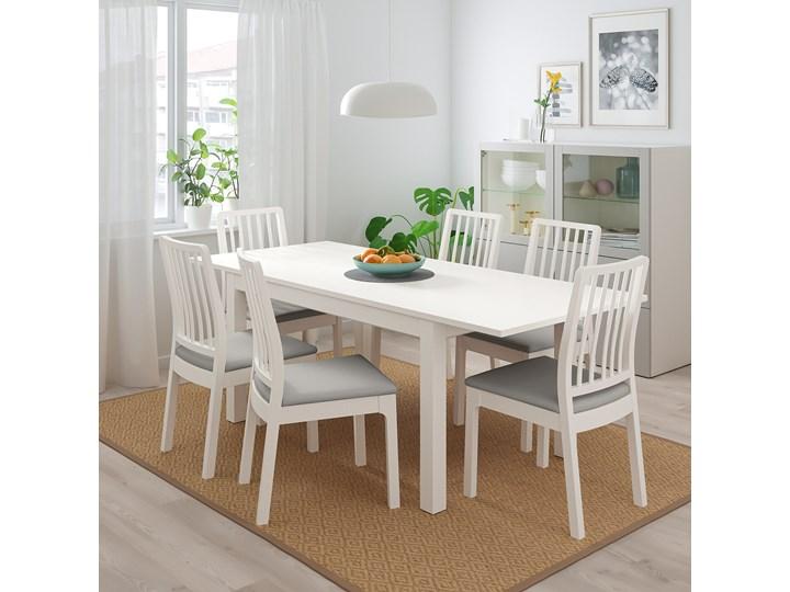 IKEA LANEBERG / EKEDALEN Stół i 4 krzesła, biały/biały jasnoszary, 130/190x80 cm Pomieszczenie Jadalnia