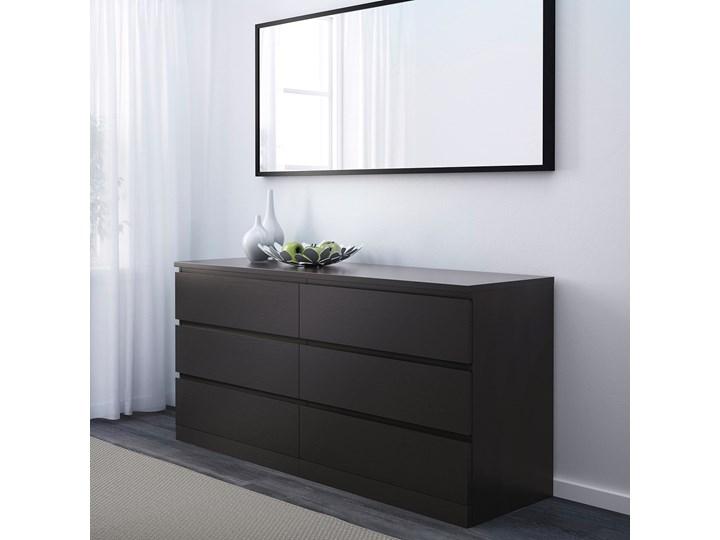IKEA MALM Komoda, 6 szuflad, Czarnobrąz, 160x78 cm Styl Nowoczesny Płyta MDF Szerokość 160 cm Z szufladami Kolor Czarny