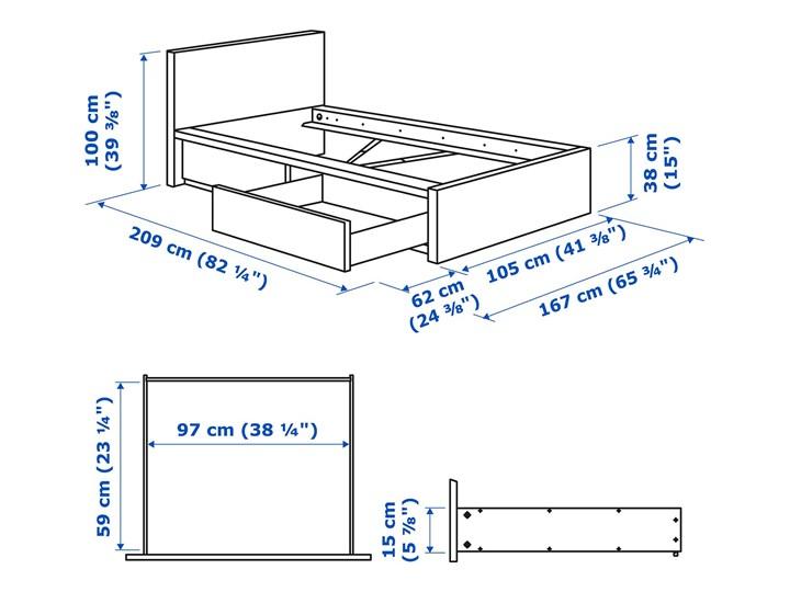 IKEA MALM Rama łóżka z 2 pojemnikami, Brązowa bejca okleina jesionowa, 90x200 cm Łóżko drewniane Drewno Kolor Brązowy Kategoria Łóżka do sypialni