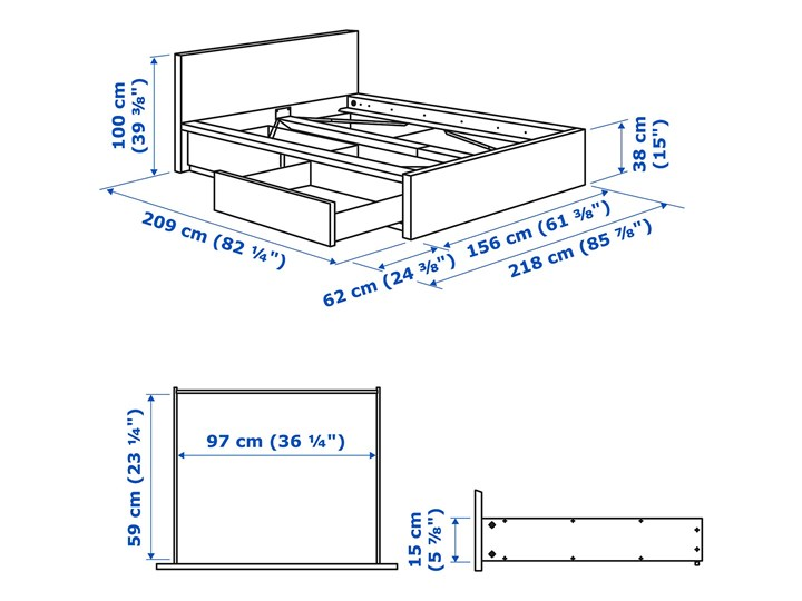MALM Rama łóżka z 2 pojemnikami Łóżko drewniane Kolor Biały Kolor Beżowy