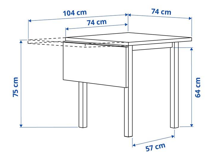 IKEA NORDVIKEN Stół z opuszcz blatem, Biały, 74/104x74 cm Sosna Styl Minimalistyczny Wysokość 75 cm Drewno Długość 104 cm Kształt blatu Kwadratowy